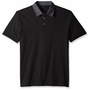 Perry Ellis Chambray Collar Black Polo